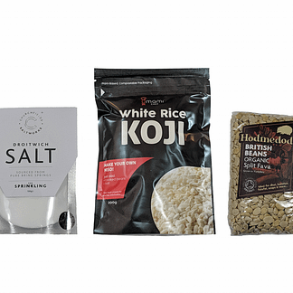 Droitwich salt, Umami Chef white rice koji, and Hodmedod's carlin peas