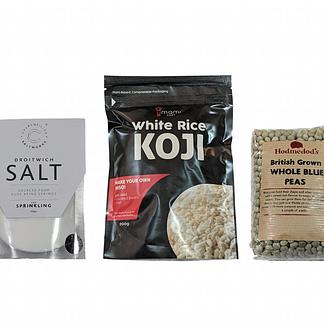 Droitwich salt, Umami Chef white rice koji, and Hodmedod's blue peas